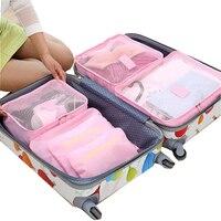 2017 6pcs Set Men And Women Luggage Travel Bags Packing Cubes Organizer Fashion Double Zipper Waterproof