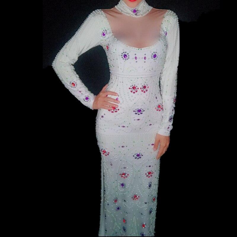 Sexy Mariage Fête Robes De Longue Strass Robe Tenue Femmes Chanteuse Glisten Célébrer Multi La Performance Blanc Discothèque tnO7qxXUR