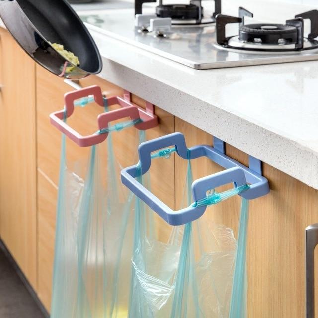 kitchen plastic hanging garbage bag organizer cupboard storage rack