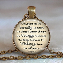 Serenity Prayer Religion Jewelry God Inspirational Quote Necklace Bronze Color Charm Glass Cabochon Pendant