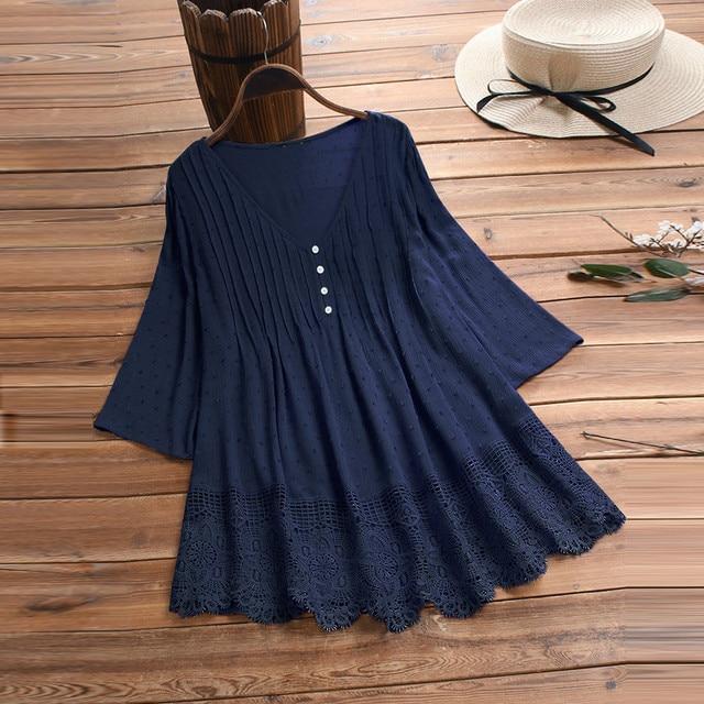 Summer Solid Blouse Plus Size S-5XL Women Vintage Jacquard Three Quarter Lace V-Neck Button Top Blouse Wholesale N4 2