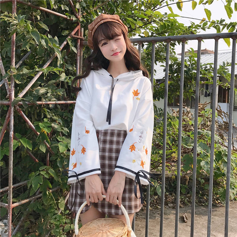 Japanese Kawaii Hoodies 2019 Cute Print Harajuku Women Sweatshirts Winter Mori Girl Cherry Blossoms Lolita Hooded Hoodie Girls
