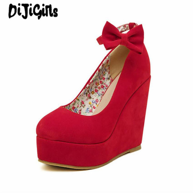 a2a758457a9 US $18.9 10% OFF|Low Price 2018 New Sexy Women Fashion Buckle ladies Shoes  Vogue Wedges RED APRICOT BLACK High Heels Platform Pumps-in Women's Pumps  ...