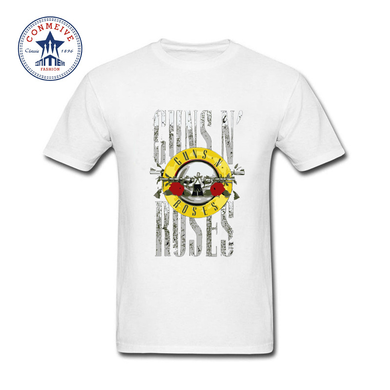 2017 Newest Fashion Funny Guns And Roses Hard Rock Funny Cotton T Shirt for men