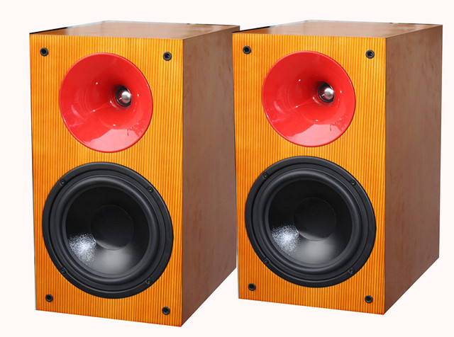 OATLON Ernie Way Hifi 8 Inch Horn Handmade Wood Bookshelf Speakers Special Sales