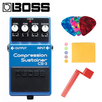 Boss CS 3 Compressor Sustainer Pedal for Guitar Bundle with Picks, Polishing Cloth and Strings Winder