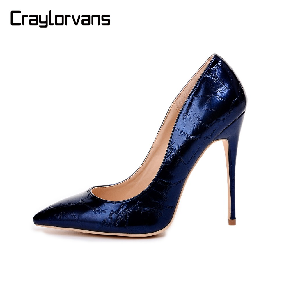 2019 NEW ARRIVE Navy Blue Metal Texture Top quality High Heels for Women Italy Sexy Design Women Shoes Sexy Ladies Party Shoes