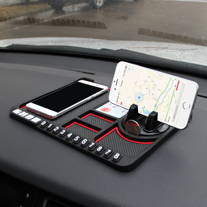Silicone Car Phone Holder Temporary No Parking Card Number Car Phone Mat Holder Dashboard For Car On The Panel Coin Non Slip Mat