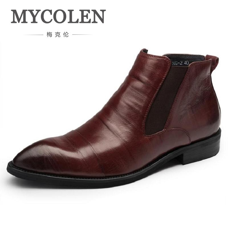 MYCOLEN 2018 Fashion Pointed Toe Ankle Boots Winter Casual Genuine Leather Boots Man Business High Quality Black Flat Shoes front lace up casual ankle boots autumn vintage brown new booties flat genuine leather suede shoes round toe fall female fashion
