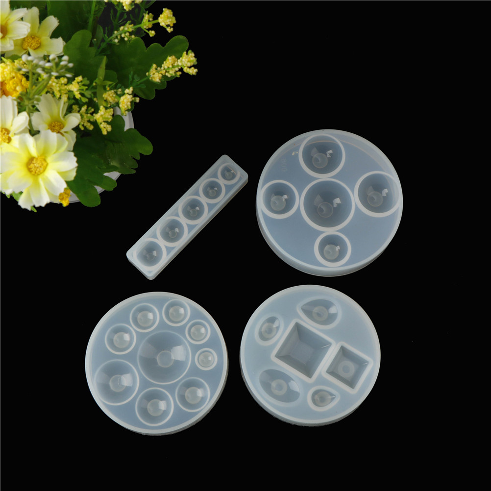 купить Craft DIY Transparent UV Resin Liquid Silicone Mold for DIY Earrings Necklace Making Jewelry Flat Round Cabochon Pendant Charms онлайн