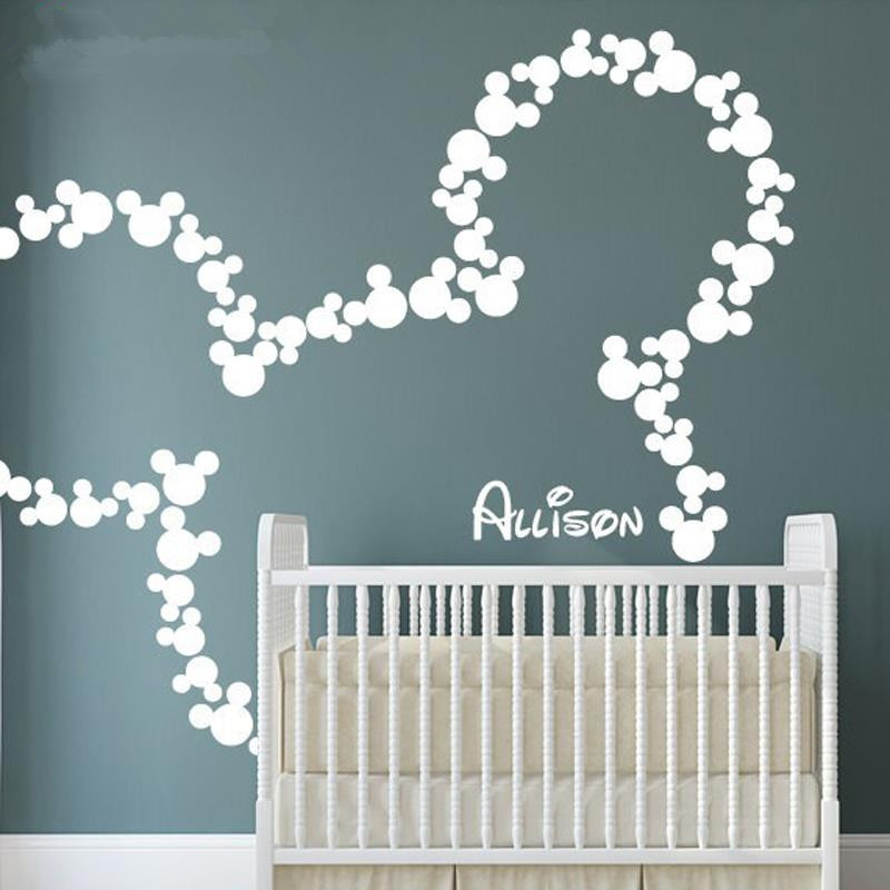 Mickey Mouse Wall Stickers Personalized Baby Name Minnie Inspired Decals Nursery Kids Room Decor Mural Wallpaper D360