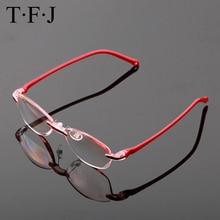 Anti Blue Rays Rimless Reading Glasses Women Elderly Cutting Lens Metal Frame Pr