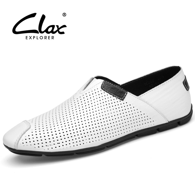 Clax Men's Summer Loafers Breathable 2018 Hollow Moccasin for Male Designer Flat Shoes Slip on Comfortable Leather Footwear clax men shoes luxury brand loafers genuine leather male driving shoes slip on black dress shoe moccasin designer classical