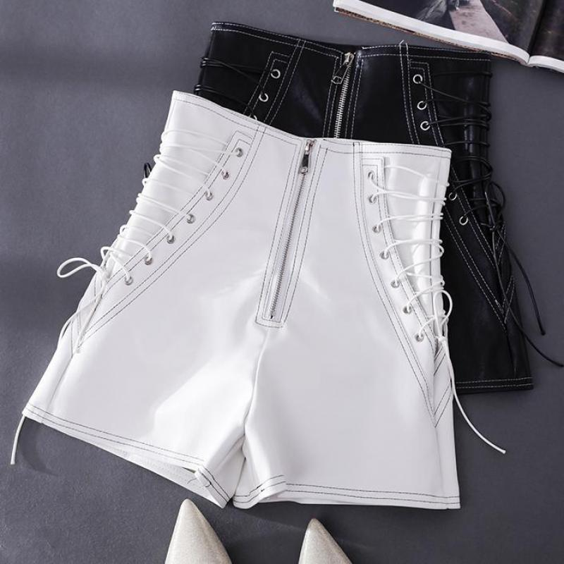 Women Fashion Black White Color Pu Leather Shorts New Spring Zipper Open Pockets Basic Chic Short Leg T2