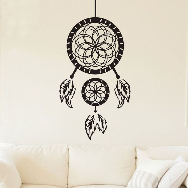 zooyoo indian dream catcher feathers wall stickers bedroom home