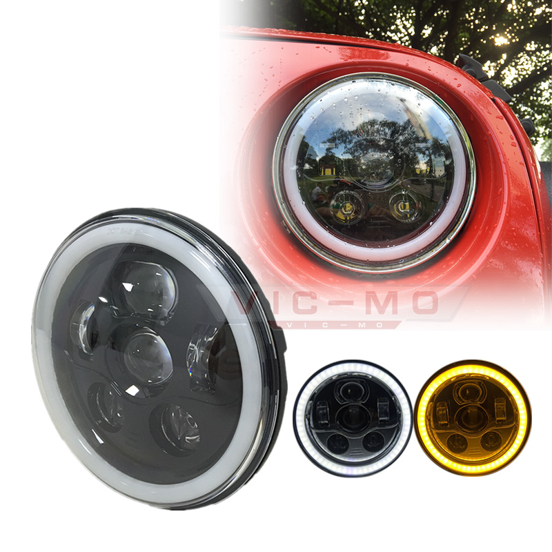For 97-17 Jeep Wrangler TJ JK Land Rover Defender 2pcs 7inch Halo Headlights with DRL Angel Eyes w/ Amber Turn Signal lamp bruder внедорожник land rover defender