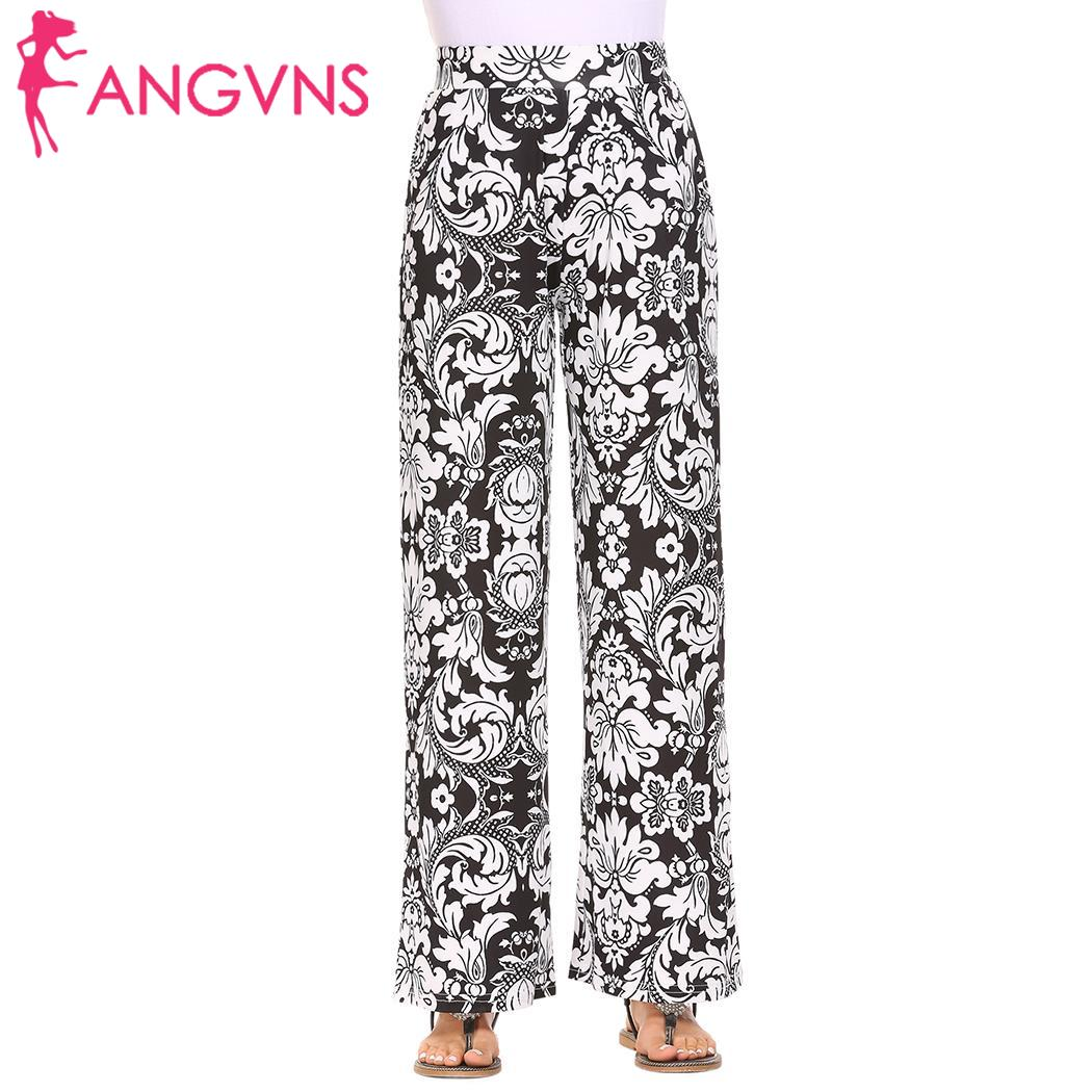 ANGVNS Autumn Ladies Floral Print   Wide     Leg     Pants   Women Long Drawstring Casual Loose   Pant   Boho Beach Elastic High Waist Trousers