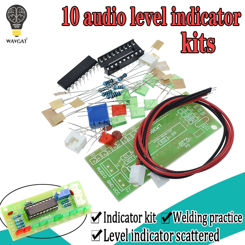 <font><b>LM3915</b></font> DC 9 V-12 V 10 LED Sound Audio Spektrum Analysator Ebene Anzeige Kit DIY Electoronics Löten Praxis set labor image