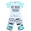 Retail New Summer Kids Girl Clothing Set Fashion Letter Pattern T Shirt+Ruffle Pant 2pcs Suit Brand Baby Girl Leisure Set Enfant
