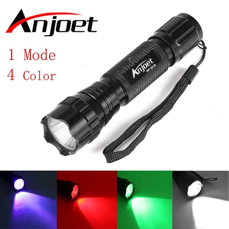 ANJOET 501B XML T6 LED Multi-color Hunting LED Flashlight Torch White/Green/Blue/Red Light Lanterna 1-Mode Flash Light 18650