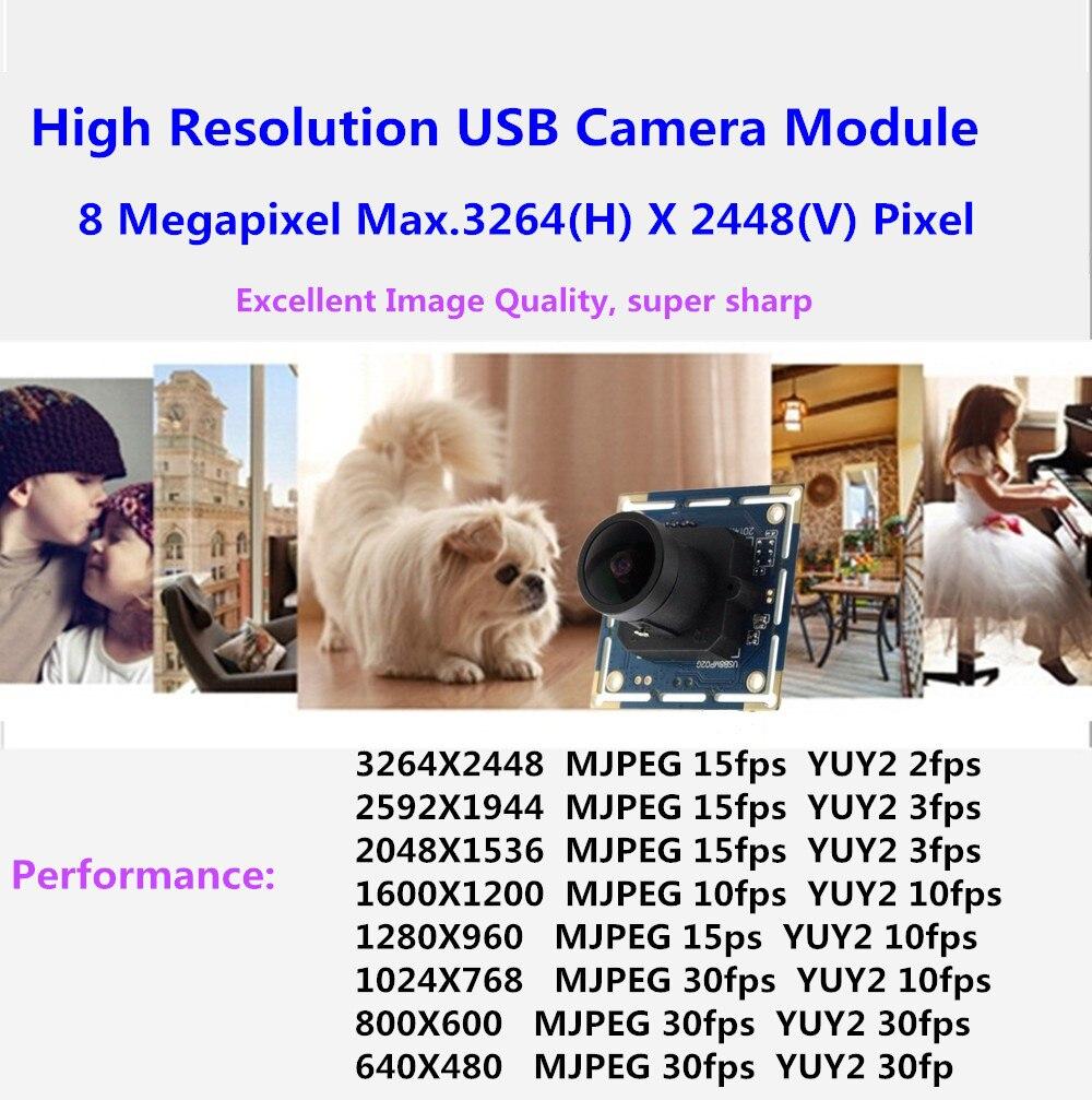 HD webcam high resolution 8 megapixel 3264x2448 wide angle fisheye lens usb camera usb web camera for linux Raspberry Pi