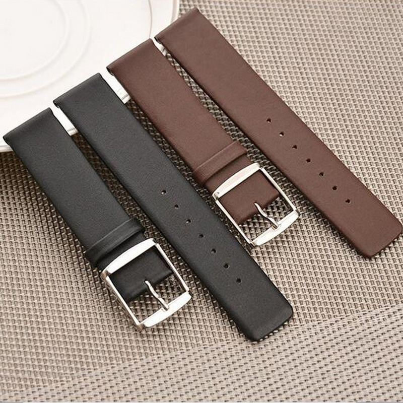 neway Genuine Leather Watch Band Wrist Strap 16 18 20 22 24mm Steel Buckle Replacement Bracelet Belt Black Brown For CK DW brown black genuine leather watch strap band 18 19 20 21 22 mm soft
