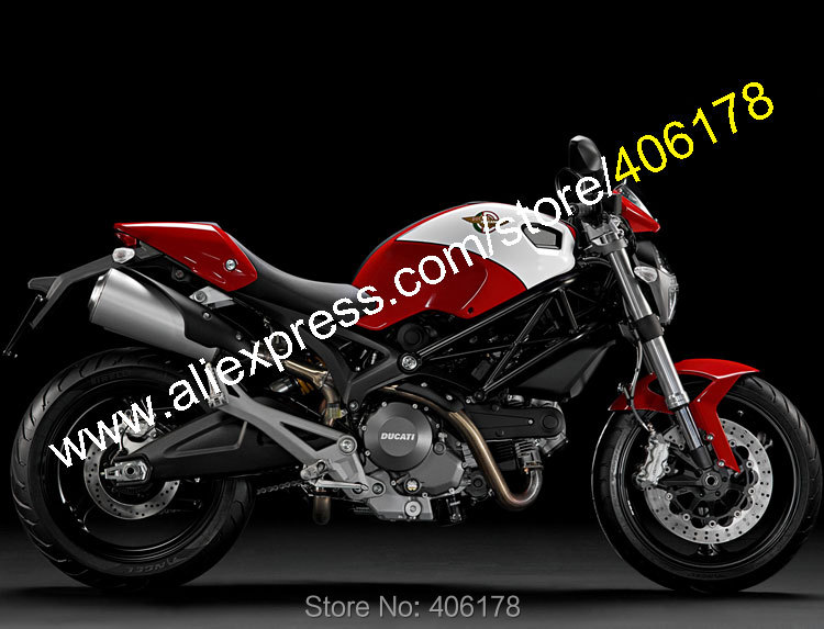 Hot Sales,For Ducati 696 795 796 M1100 2009 2010 2011 2012 2013 Monster 1100 1100S Red White ABS Fairing (Injection molding)