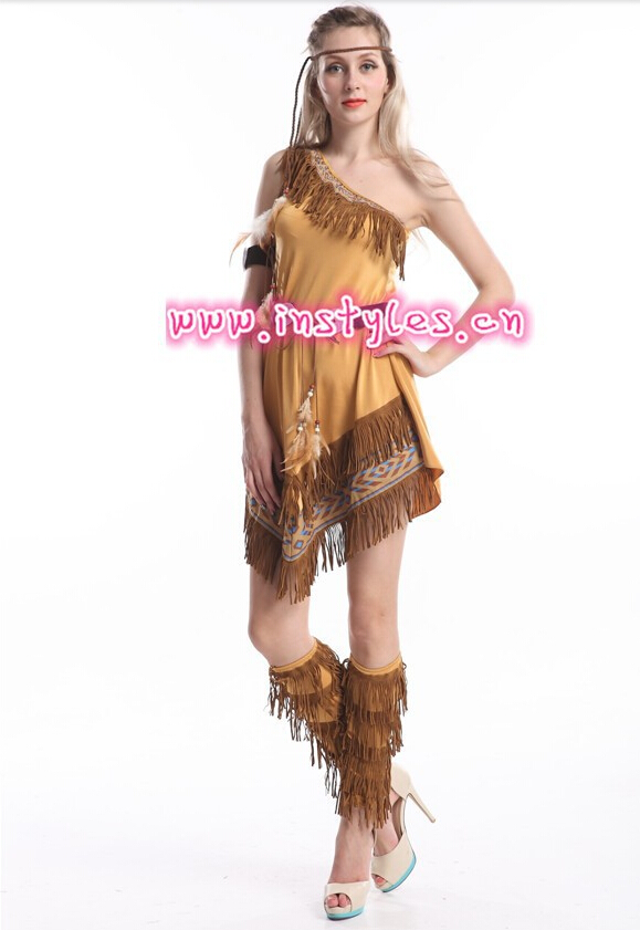 Carnival Indian Costume Party Dress Cosplay Indian Costume Indian Woman Squaw Costume Pocahontas Womens Native American Fancy