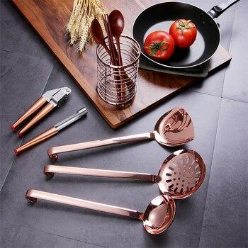 ORZ oro rosa utensilios de cocina Gadgets Metal prensa de ajo manzana sopa  cuchara colador Turner vajilla de almacenamiento de alambre de cubo ad88ebc2d927