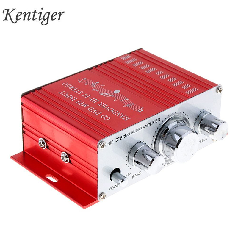 Kentiger HY2001 Car Amplifier 12V HiFi Mini 2CH Digital Stereo Output Power Amplifier 3.5mm Audio Subwoofer Music Player For PC