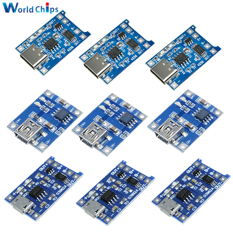 10Pcs Micro Mini USB 5V 1A 18650 TP4056 Lithium Battery Charger Module Charging Board With Protection Dual Functions 1A Li-ion