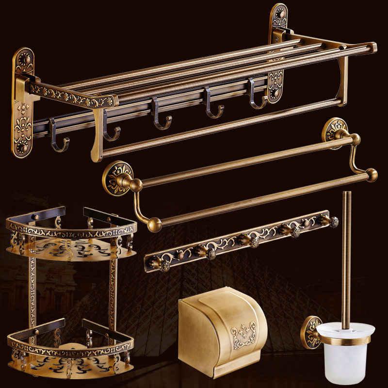 Akcesoria łazienkowe wieszak na ręczniki półka narożna pudełko na chusteczki uchwyt na szczotkę wc łazienka sprzętu zestaw antyczne rzeźbione aluminium
