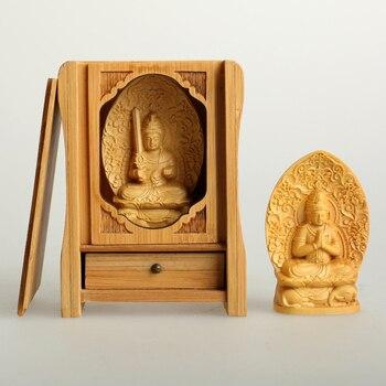 7 Cm Patung Buddha Kotak Lobular Boxwood Ukiran Tangan Ke Tangan Guanyin Ornamen, kelahiran Patung Kecil