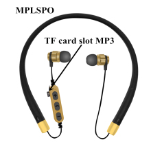 MPLSBO TF card slot Neckband Bluetooth Earphone with Mic Wireless Headphone Stereo Auriculares Bluetooth Headset Fone De Ouvido original nia x6 headset wireless stereo bluetooth headphones fone de ouvido bluetooth with mic support tf card fm radio earphone