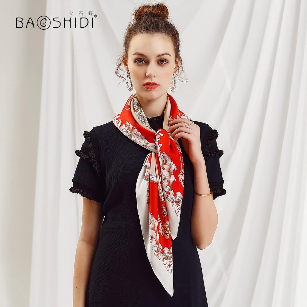 [BAOSHIDI] 2018 New Arrival Luxury Brand Shawl, 16m/m Thick 100% Silk Large Square Scarf,infinity Hijab Lady,elegant Women Scarf