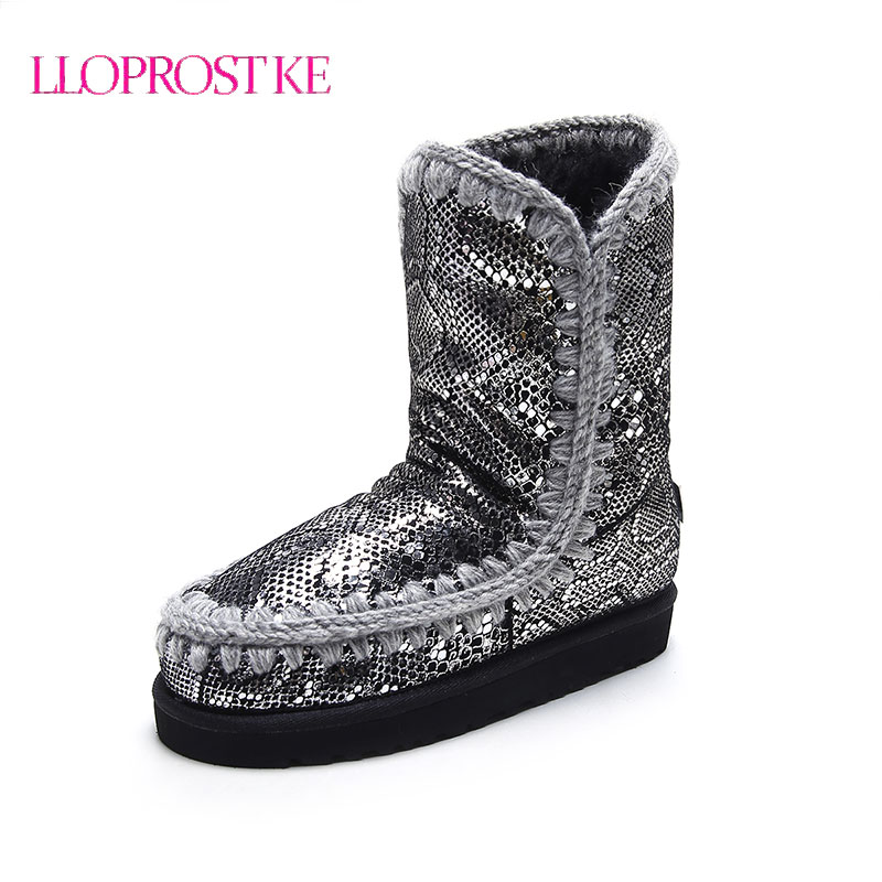 LLOPROST KE Warm Fur Snow Boots Women Ankle Boots Winter New Women Boots Genuine Leather Round Toe Flat Heel Boots Botas LYZ099 prova perfetto winter women warm snow boots buckle straps genuine leather round toe low heel fur boots mid calf botas mujer