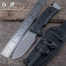 HX cuchillo de hoja recta para exteriores, Mango antideslizante, D2, acero inoxidable, EDC, herramienta para supervivencia, caza, acampada y exteriores