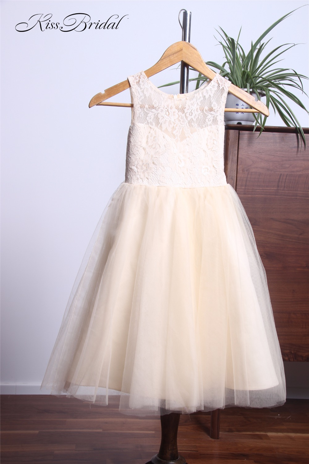 Lovely Long   Flower     Girl     Dresses   For Weddings Cute Light Champagne Kids Party Pageant Gowns Floor Length
