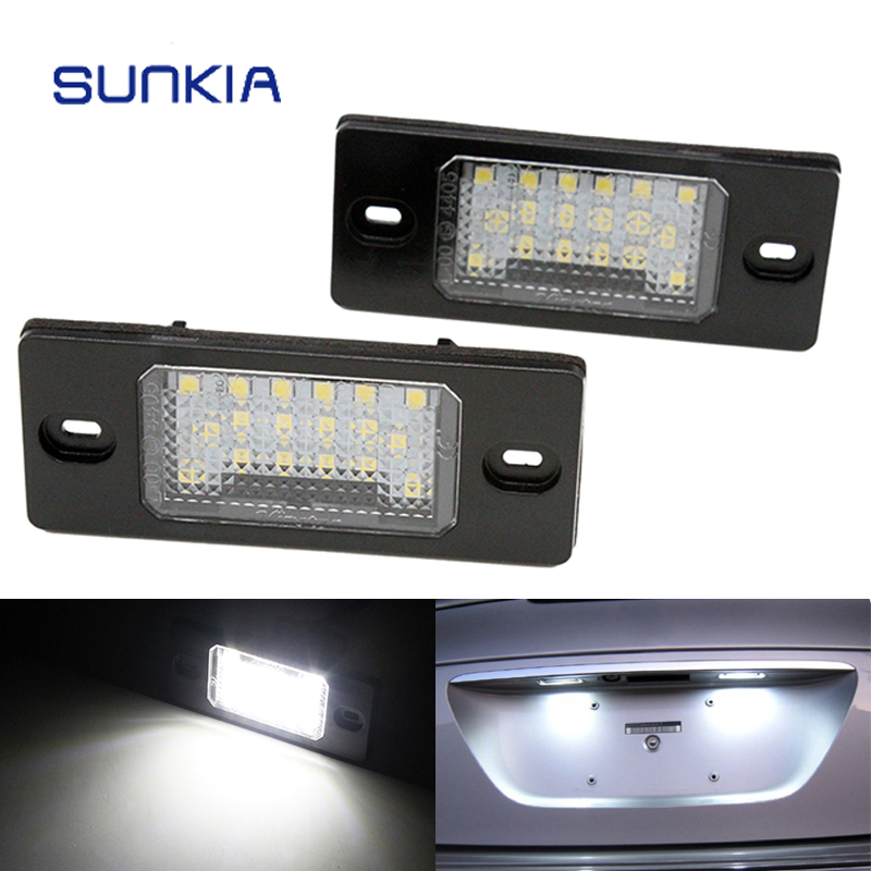 2Pcs/Set SUNKIA Canbus Error Free White 18SMD LED Number License Plate Lights For VW Touareg Tiguan Golf 5 Passat B5 cawanerl car canbus led package kit 2835 smd white interior dome map cargo license plate light for audi tt tts 8j 2007 2012