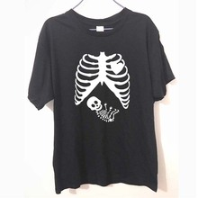 Fashion New T-shirts Men Short Sleeve Pregnant Skeleton Baby funny gothic maternity T Shirts Male Tshirts