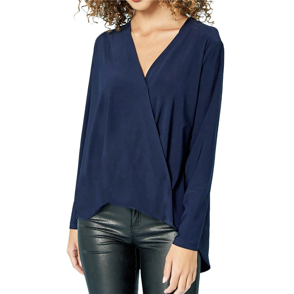 JAYCOSIN Fashion Womens Chiffon Solid T-Shirt Office Ladies V-Neck Long Sleeve Top PH3 womens tops and Shirt