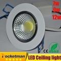 2016 Más Nuevo 7 w 9 W 12 w LED downlight de chip COB LED Empotrado luz de techo Lámpara Del Punto de Luz Blanco/caliente epistar led de la lámpara