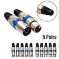 5/10 Pairs 3 Pin Male/Female XLR 35 Jack Connector  Electrical Adapter for Mic microphone,audio Cable Connector Male Plug