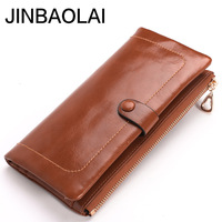 JINBAOLAI 2017 Women Wallets Genuine Leather High Quality Long Design Clutch Cowhide Wallet High Quality Fashion