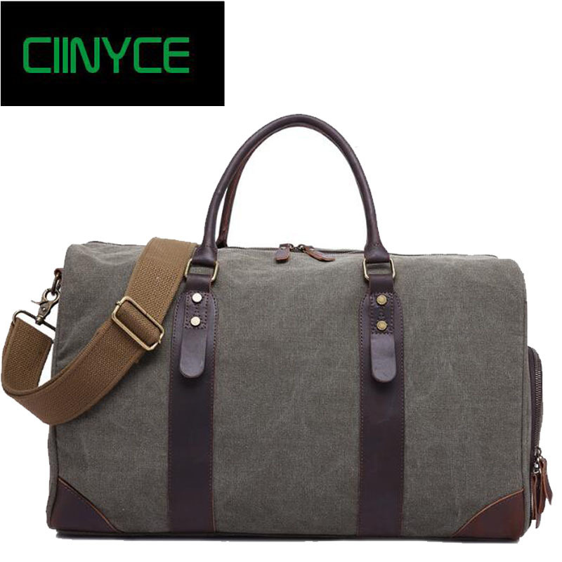 Vintage Solid Grey Canvas Men Travel Duffel Large Capacity Cow Leather Military Weekend Basic Holdall Tote Overnight Bags augur new canvas leather carry on luggage bags men travel bags men travel tote large capacity weekend bag overnight duffel bags