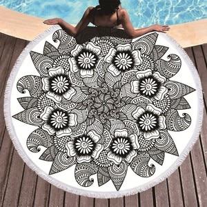 Image 2 - Drukowane kwiat Mandala duże ręczniki plażowe z mikrofibry ręcznik plażowy dorosłych czarny geometryczne ręczniki łazienka koc mata do jogi Toallas