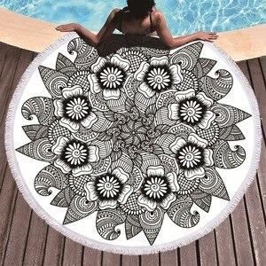 Image 2 - Printed Flower Mandala Large Beach Towels Microfiber Towel Beach Adults Black Geometric Towels Bathroom Blanket Yoga Mat Toallas