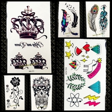 1PC Sexy Women Body Neck Art Water Transfer Fake Tattoo Queen Crown Letter Jewelry Design Temporary Tattoo Decals Sticker GAQ171
