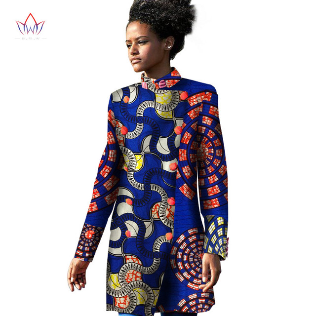 2017 Spring Traditional African Women Trench Coat for Women Trench Coat Long Sleeve Print Cotton Oversize 6XL BRW WY1137