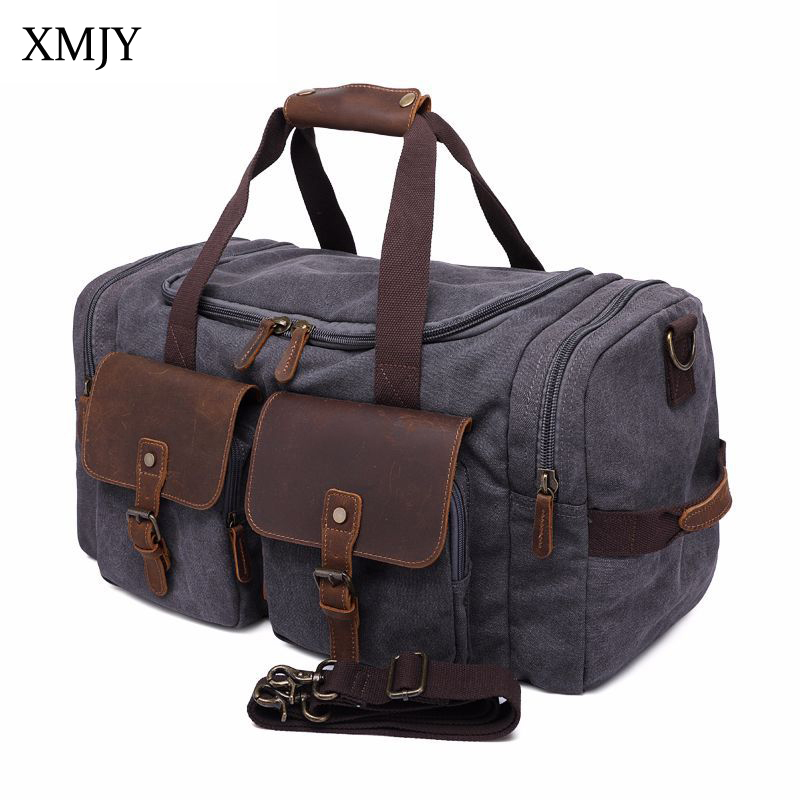 XMJY Canvas Travel Duffle Bags Men Side Pocket Large Capacity Travel Hand Luggage Vintage Shoulder Bag Weekend Overnight Bag augur men s messenger bag multifunction canvas leather crossbody bag men military army vintage large shoulder bag travel bags